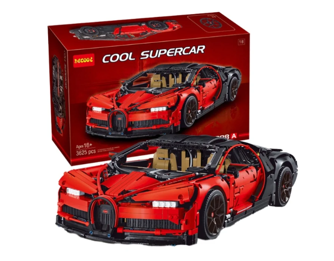 Конструктор Jisi bricks (Decool) Cool Supercar 3388A Bugatti Chiron красный