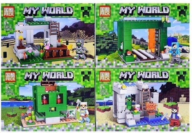 """Набор из 4-х конструкторов Майнкрафт """"Шахта Крипера"""" 480 дет.   My World 63012"""