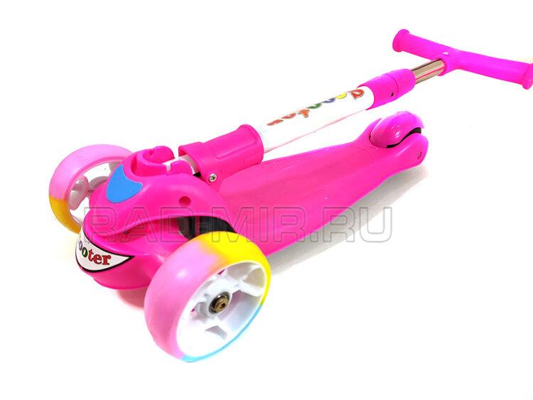 Детский складной самокат Scooter Premium 2019 розовый