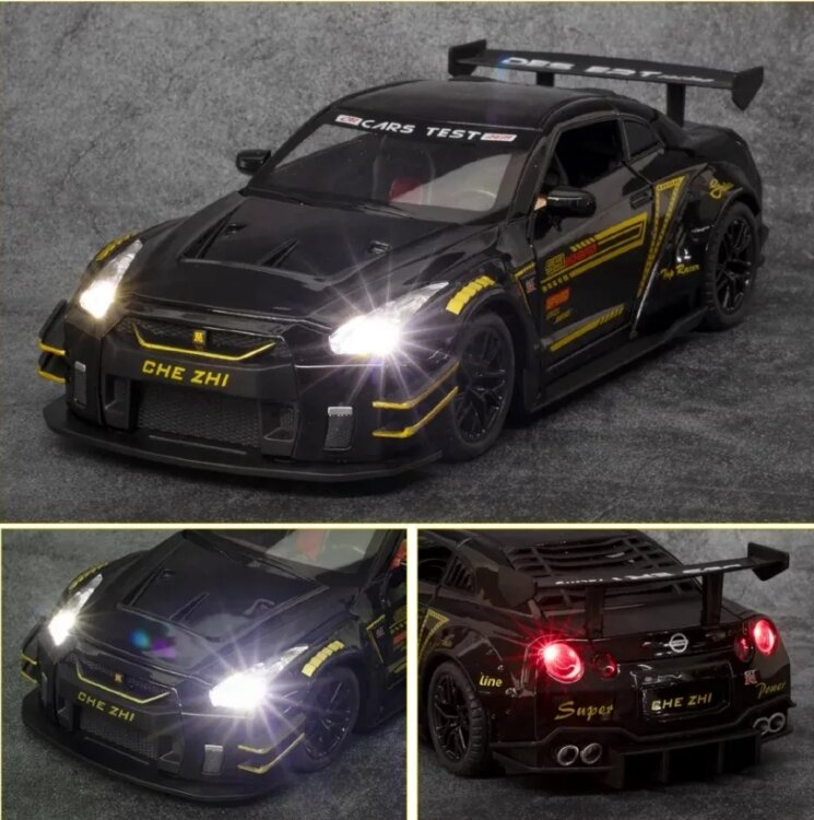 Масштабная модель автомобиля Nissan GT-R 1:24 (чёрный)