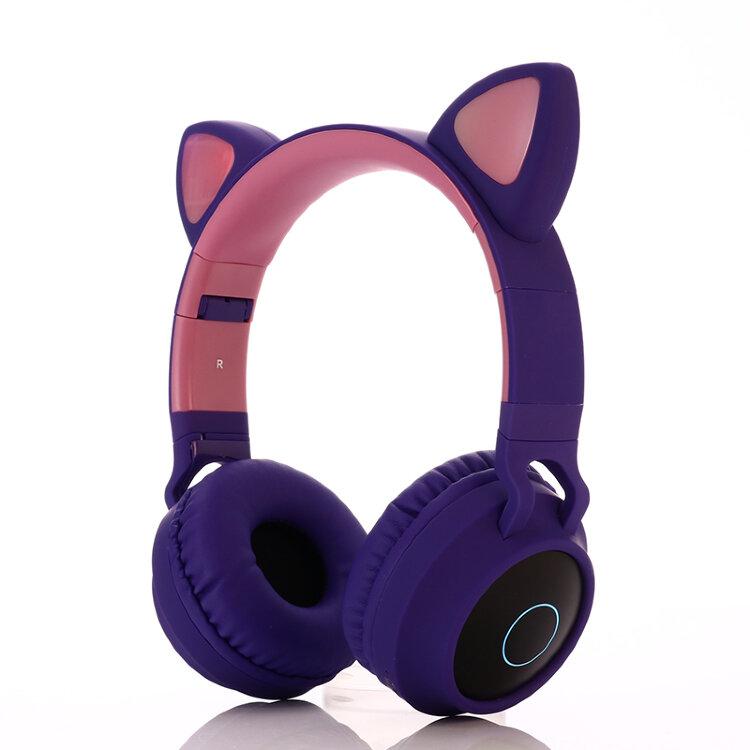 Cat Ear Headphones - BT028C Фиолетовые. Беспроводные наушники кошачьи ушки светящиеся