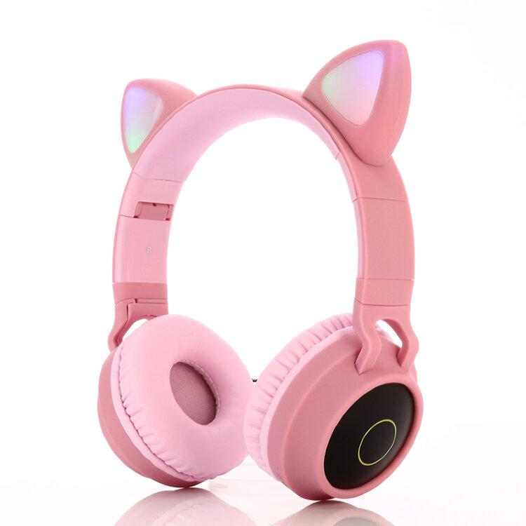 Cat Ear Headphones - BT028C Розовые. Беспроводные наушники кошачьи ушки светящиеся