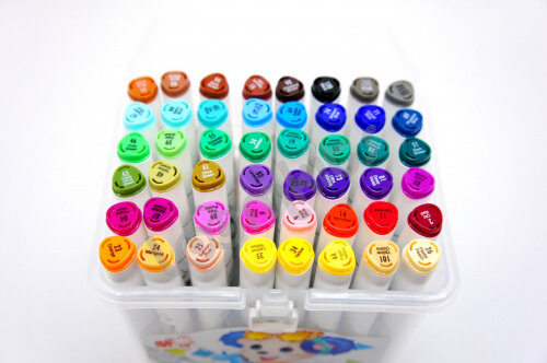 Скетч-маркеры 48 цветов двусторонние в контейнере