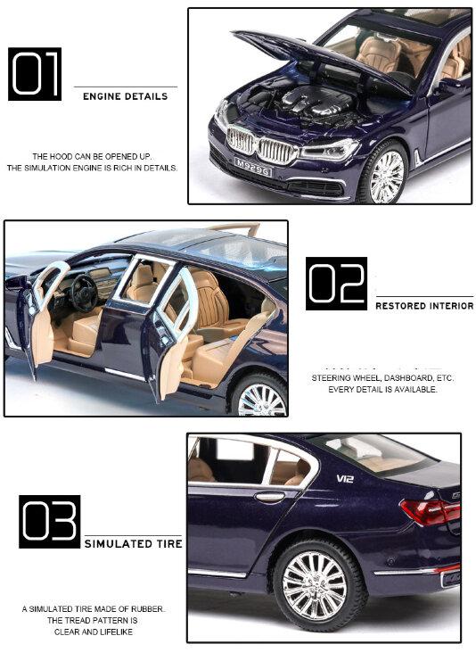 Машинка металлическая инерционная BMW 760 1:24 (в коробке)