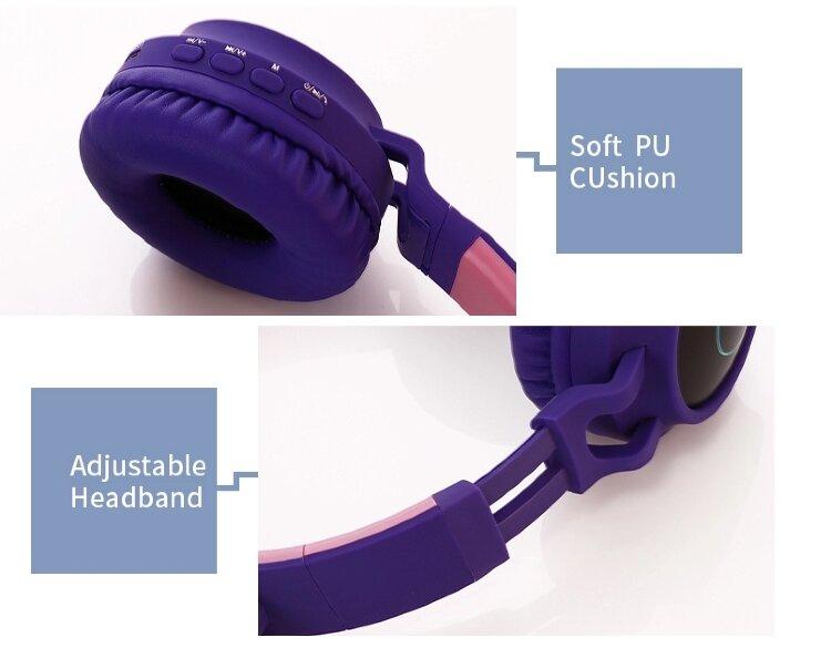 Беспроводные Bluetooth наушники с ушками  BT028C (голубые с серым)