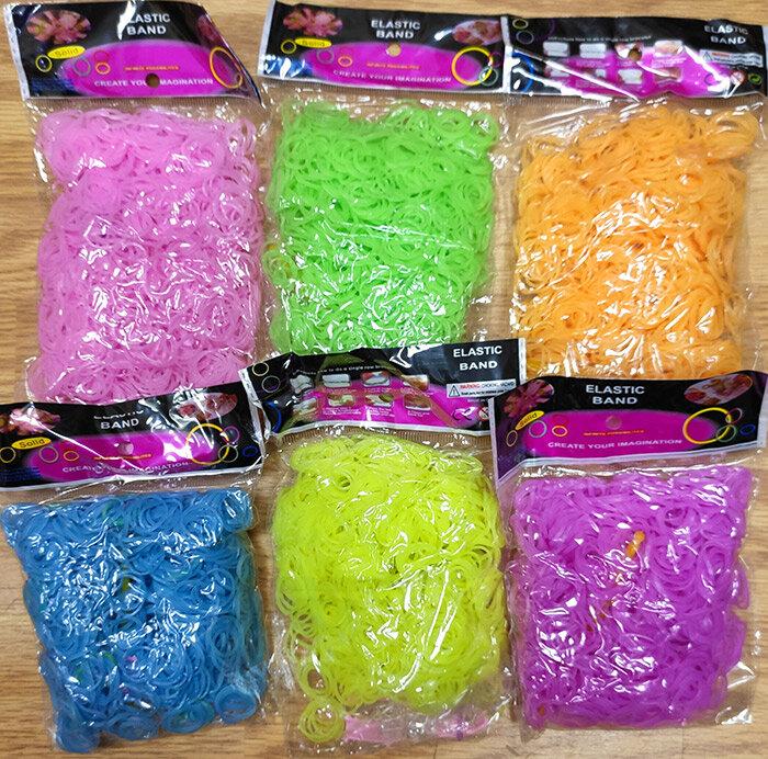 Набор 6 цветов светящихся в темноте (неоновые) резиночки для плетения браслетов