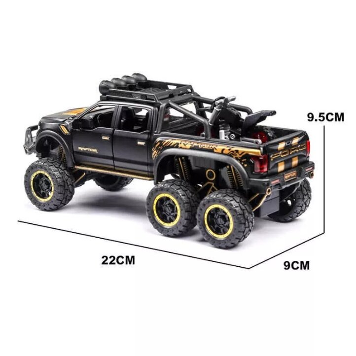 """Машинка металлическая инерционная """"FORD Raptor"""" с мотоциклом 220х80 мм."""