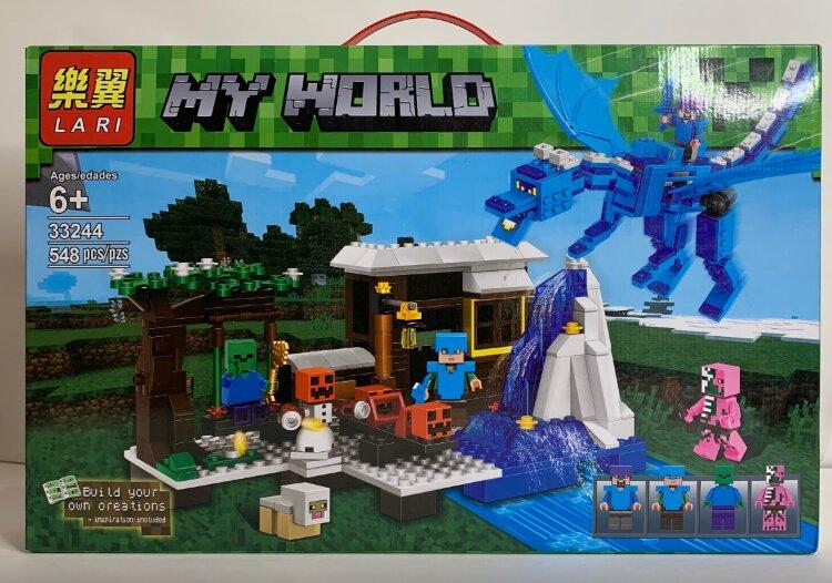 Конструктор Майнкрафт Иглу и Ледяной дракон My World 33244 548 ДЕТ.