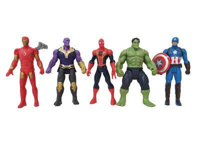 Набор 5 фигурок Мстители 12см. Железный человек, Капитан Америка, Танос, Халк, Человек Паук Супергерои (2115)