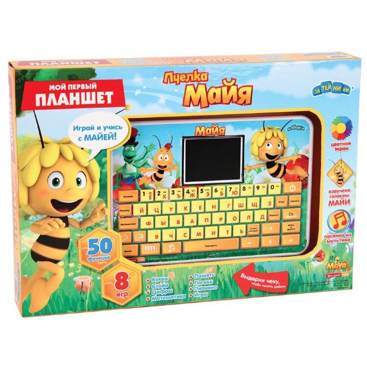 Пчелка Майя Электронная игрушка Компьютер планшет с цветным экраном 53 функции 8 игр