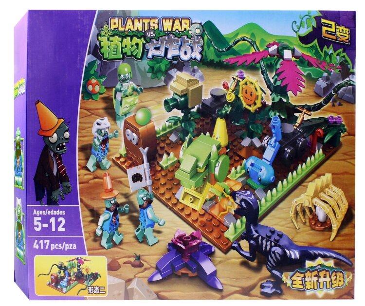 Конструктор Plants War Plants vs Zombies 90072 Растения против Зомби Сцена Вторжения с динозавром 417 дет.