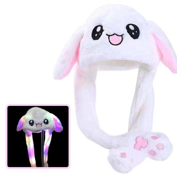 Шапка Зайка с двигающимися ушами и подсветкой (розовая)