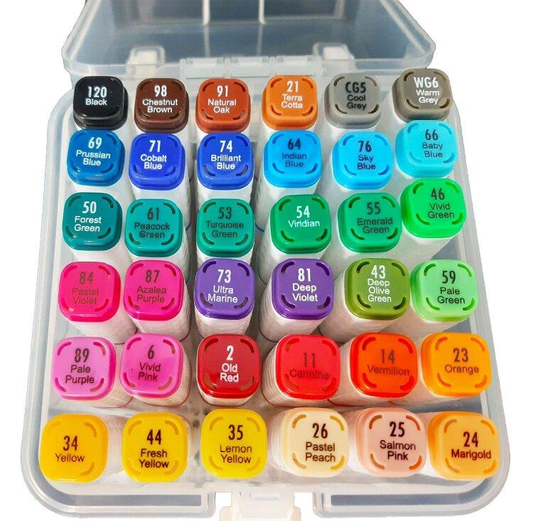 Скетч-маркеры 36 цветов двусторонние в контейнере
