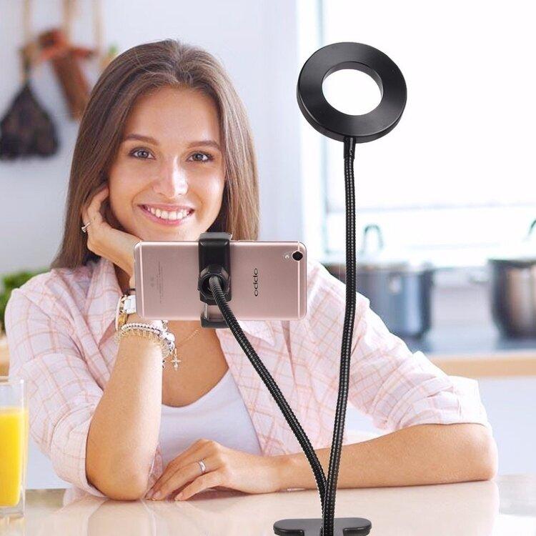 Кольцевая LED лампа с держателем для телефона и регулировкой освещения