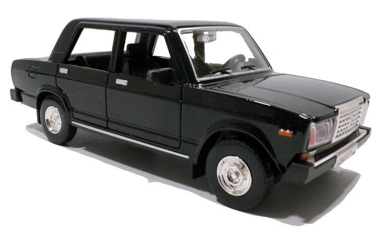 Металлическая инерционная машинка Лада ВАЗ 2107 1:24 18 см со светом и звуком. цвет чёрный