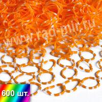 """Резиночки """"Оранжево-белые"""" для плетения браслетов"""