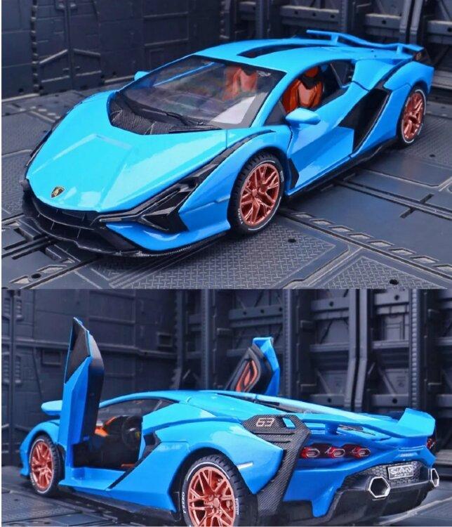 Ламборджини Lamborghini Sian FKP 37 машинка инерционная металлическая 21 см (1:24) синяя