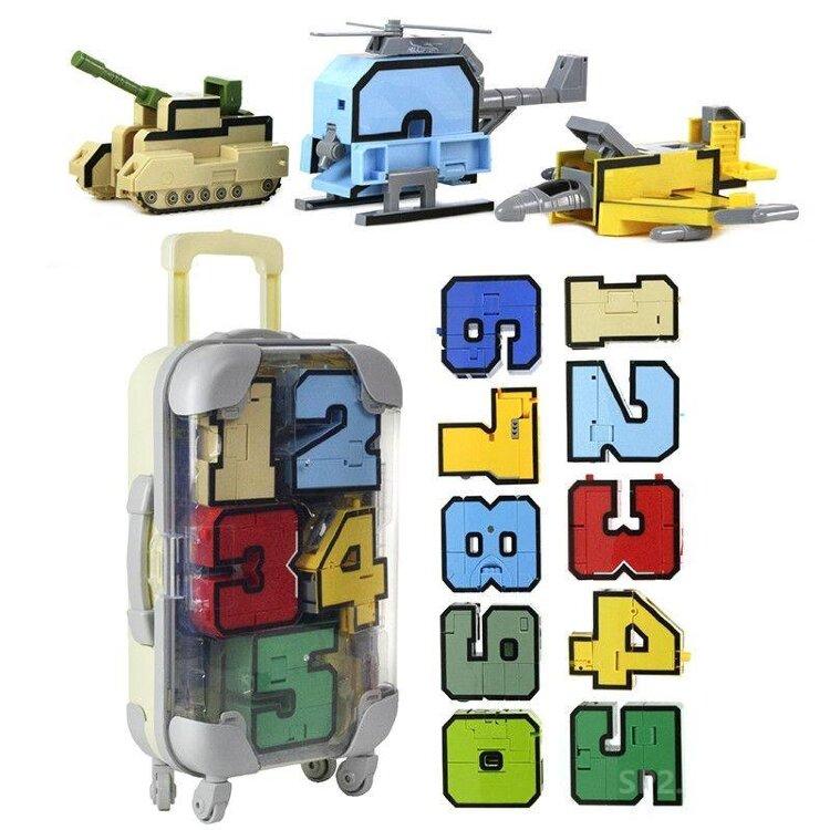 Цифры-Трансформеры L в чемодане «Составной Супертрансформер» Коллекция тысячи знаний набор 10 в 1