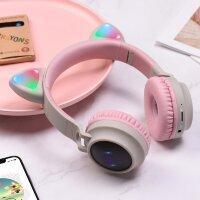Беспроводные Bluetooth наушники с ушками кошки Hoco BT W27 Cat ear (серый с розовым)