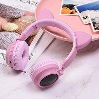 Беспроводные Bluetooth наушники с ушками   Cat ear (розовые)
