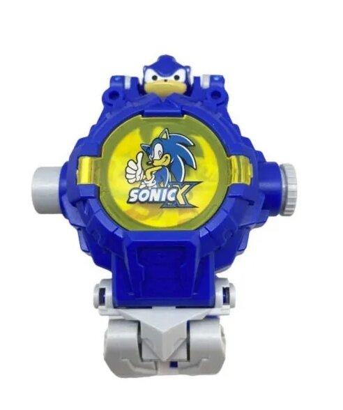 Трансформер Соник с часами и световым проектором / трансформируется из робота в часы