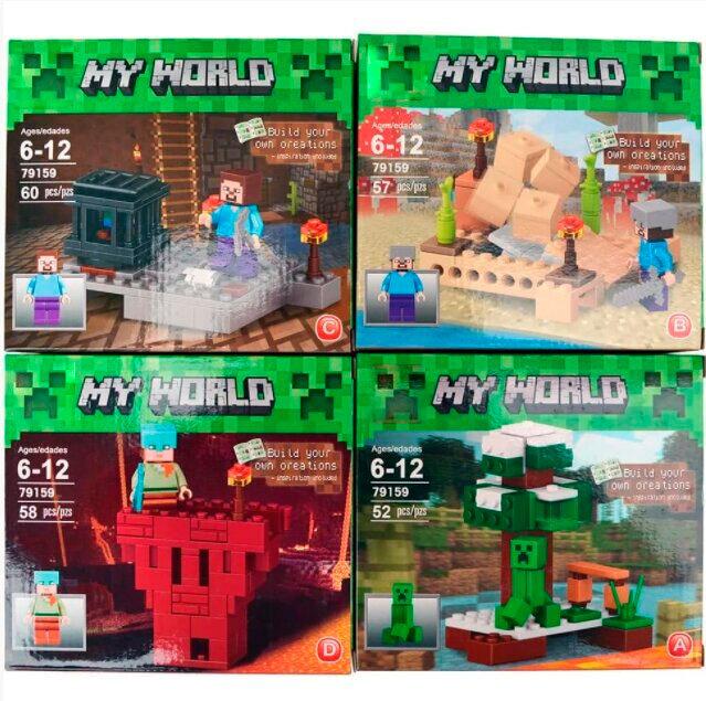 Комплект 4 конструктора Майнкрафт «Герои вселенной» My World 79159