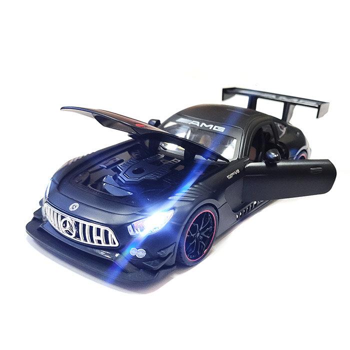 Машинка металлическая инерционная Mercedes-Benz GT63 AMG 1:24 (черная с обвесом)