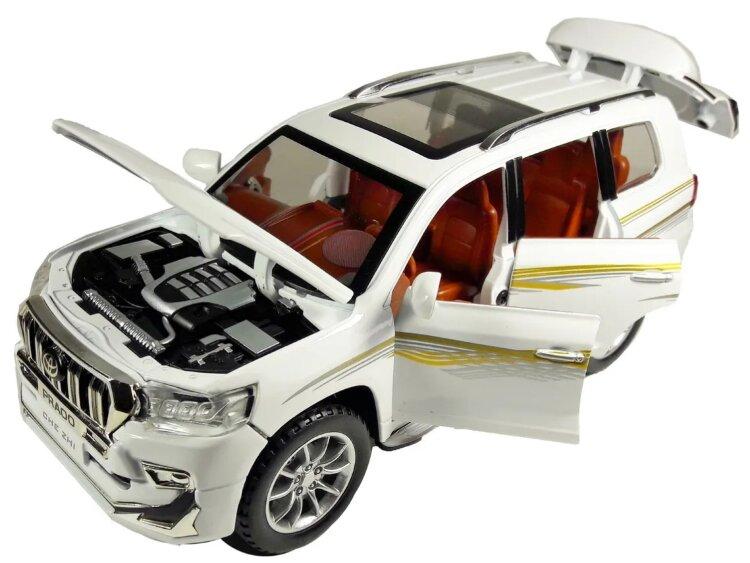 """Машинка металлическая инерционная """"Toyota Land Cruiser Prado"""" 1:24 (белый)"""