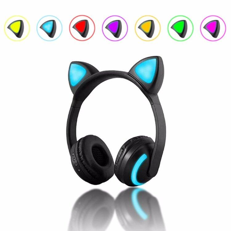 Беспроводные наушники Cat Ear ZW 19 светящиеся кошачьи ушки семь цветов в одном