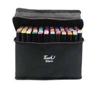 Скетч-маркеры 80 цветов двухсторонние клиновидный и пулевидный наконечник