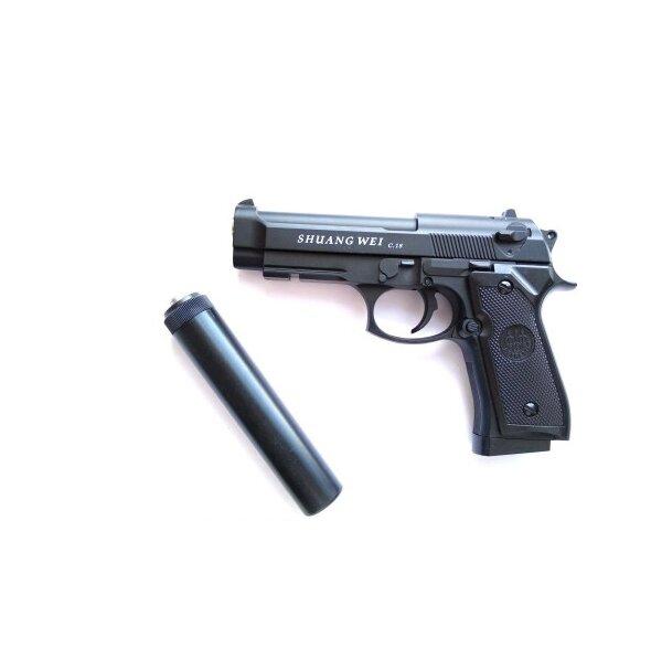 Пистолет с глушителем для страйкбола Airsoft Gun C18+ Беретта