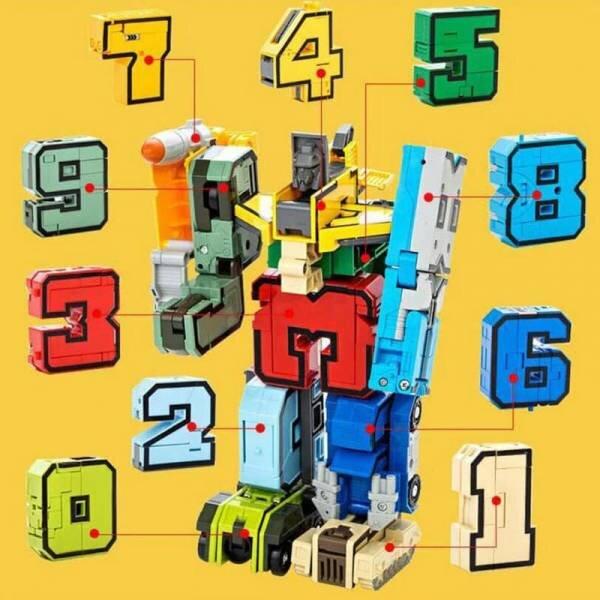 Цифры-Трансформеры L в чемодане «Составной Супертрансформер» Коллекция тысячи знаний набор 10 в 1 (Желтый)