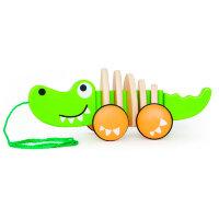 """Деревянная игрушка-каталка """"Крокодил"""" на веревке"""