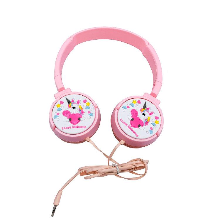 Полноразмерные детские наушники  Единорог (розовые)