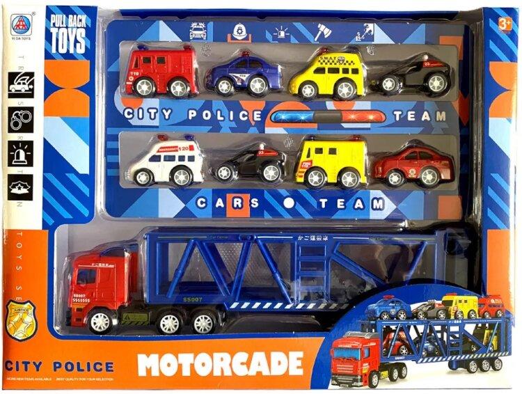 Игровой набор с машинками: 9 машинок городской техники скорая, полиция, пожарная и другие