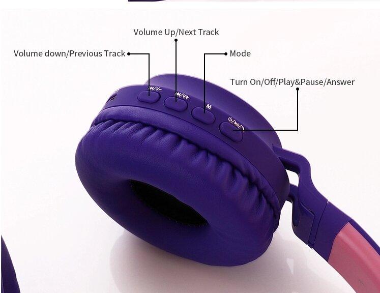 Беспроводные Bluetooth наушники Wireless Cat Ear Headphones BT028C (серые с розовым)