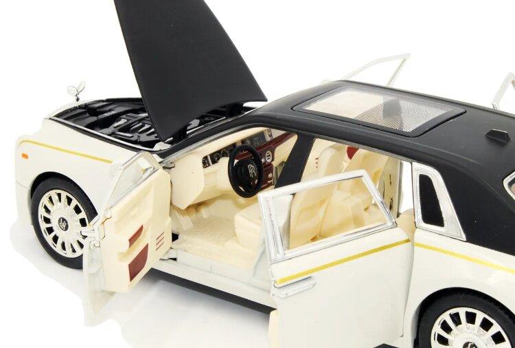 Машинка металлическая инерционная Роллс Ройс Гост (Rolls-Royce Ghost) 1:24   (белая с черным)