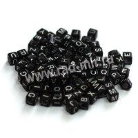 """Бусины кубики """"Алфавит"""" черные 100шт."""