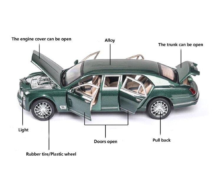 Машинка металлическая инерционная Бентли лимузин 1:24 (зеленый в коробке)