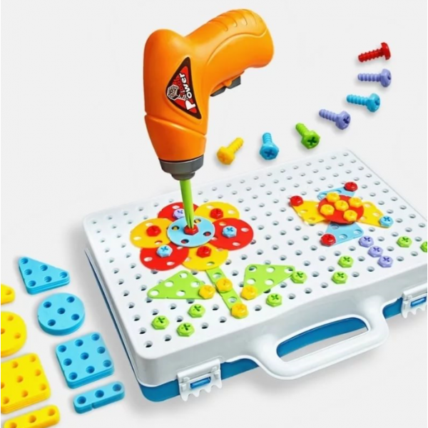 Конструктор мозаика с шуруповертом MAGIC PLATE PUZZLE 190 деталей