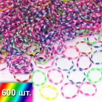 """Резиночки микс """"Разноцветный с прозрачными вставками"""" для плетения браслетов"""