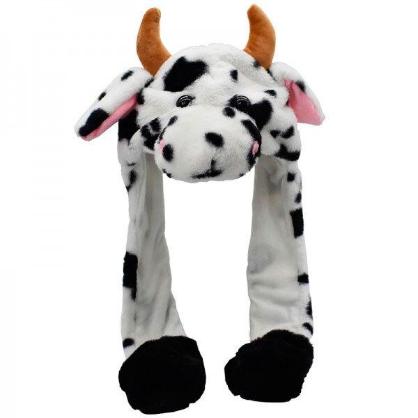 """Шапка """"Корова"""" с двигающимися ушами и подсветкой   (белая с черным)"""