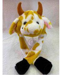 """Шапка """"Корова"""" с двигающимися ушами и подсветкой (белая с желтым)"""