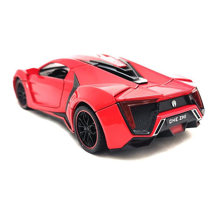 Машинка металлическая инерционная суперкар Lykan HyperSport 1:24  (красная)