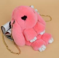 Сумка-рюкзак Кролик (Зайка) из меха цвет - розовый