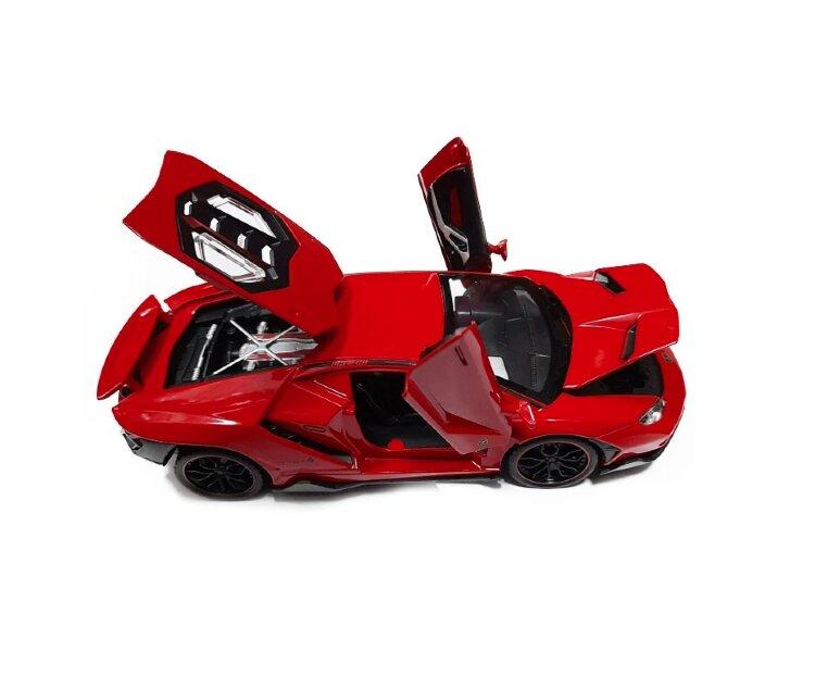 Машинка металлическая инерционная Ламборджини Lamborghini Aventador 20 см (1:24) (красная)