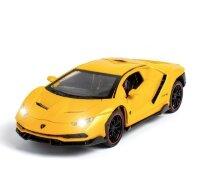 Машинка металлическая инерционная Ламборджини Lamborghini Aventador 20 см (1:24) (желтая)