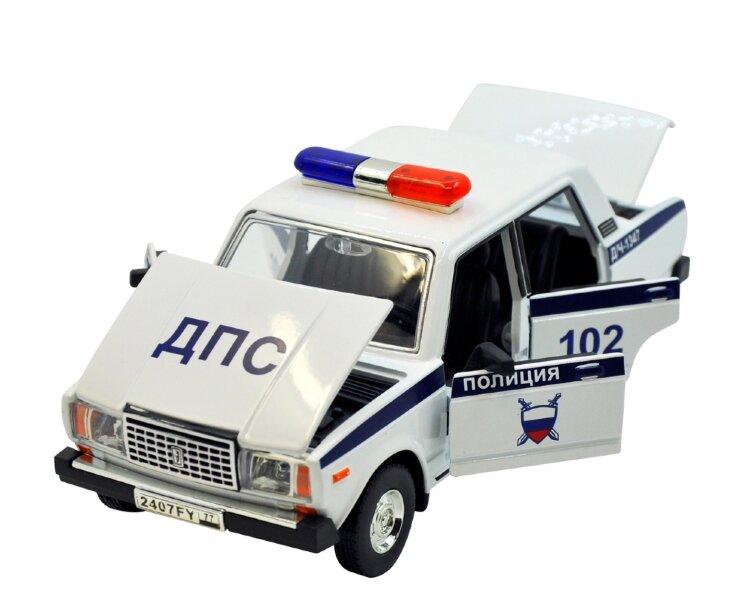 Машинка металлическая ВАЗ 2107 ДПС с открывающимися дверями, капотом, багажником светом и звуком