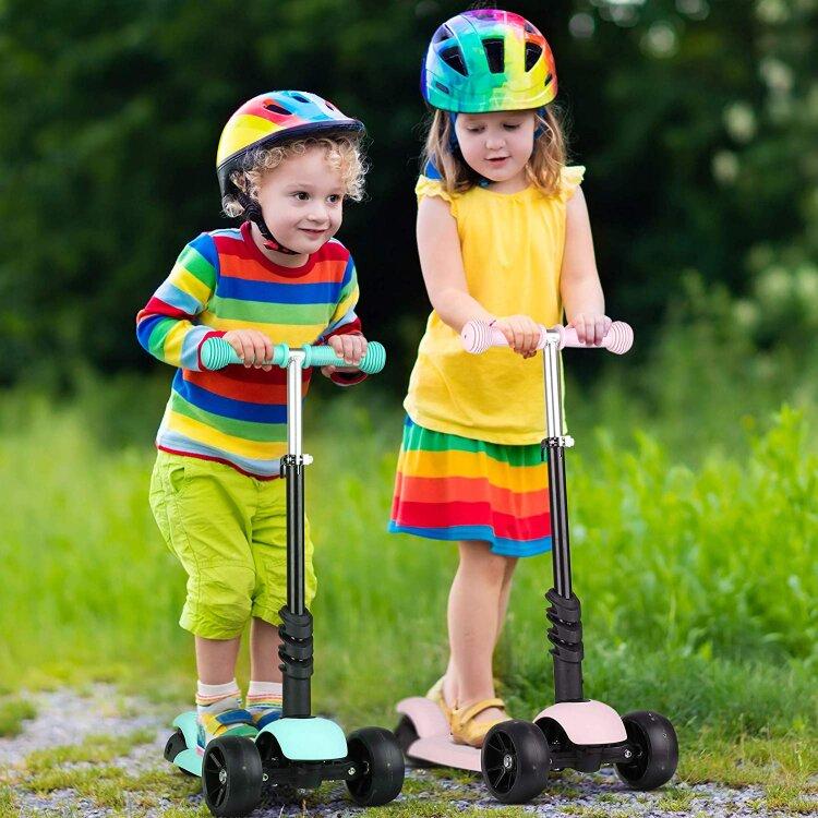 Детский самокат кикборд со светящимися колесами