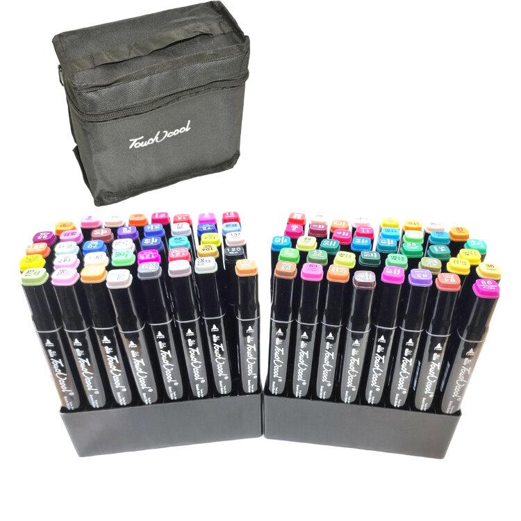 Скетч-маркеры двухсторонние 80 цветов  с подставкой и чехлом